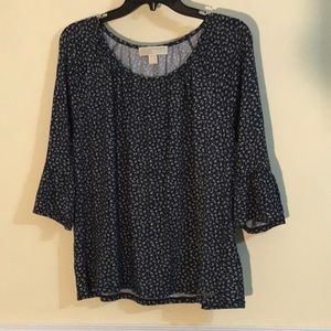 MK navy top with ruffle 3/4 sleeves
